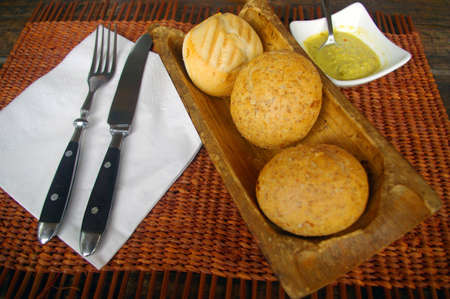 lunch tray: Lunch bread served in tropical restaurant in bamboo tray