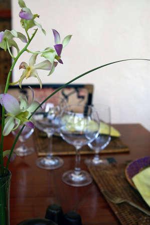 restauration: Table setting for dinner at indonesian restaurant Stock Photo