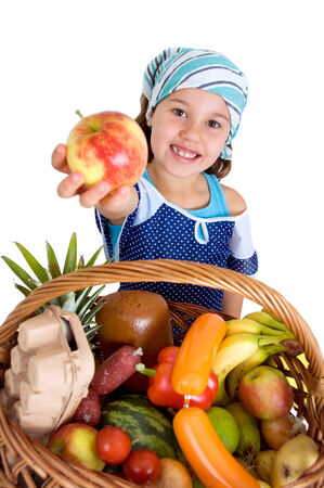 Girl with apron and headscarf with healthy Basket photo