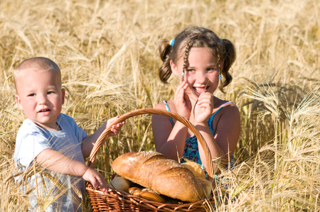 Siblings with a picnic basket in cornfield photo