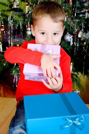 nikolaus: Little boy with Christmas presents under the Christmas tree
