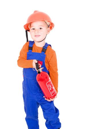 ordenanza: peque�o bombero Foto de archivo