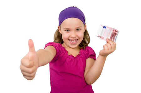 sham: Girl holding 10 euro in one hand and pointing with his thumbs up Stock Photo