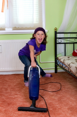chores: Girl cries when vacuuming her room
