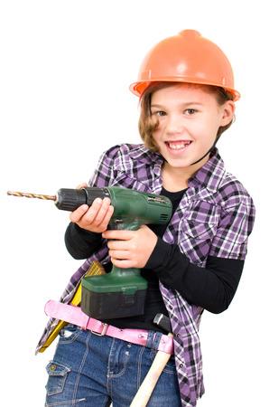 Girlsas einen Handwerker mit einer Bohrmaschine Standard-Bild - 25272564