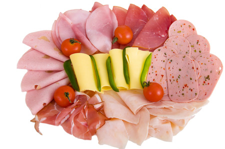 plate of Cold cuts with sausage and cheese Stock Photo