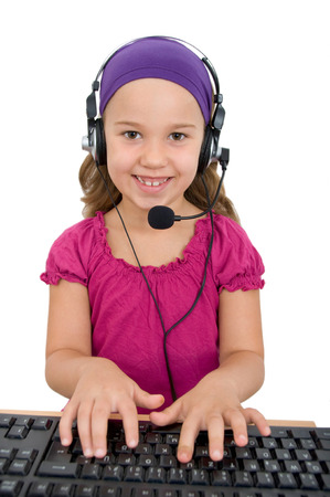 girl as a customer service representative with headset photo