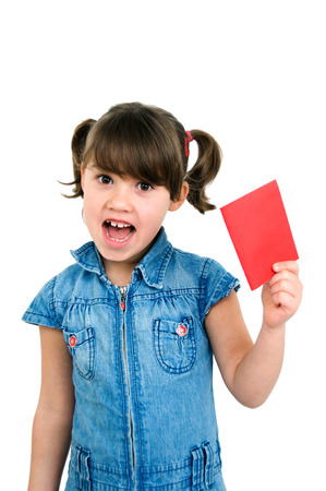 unjust: little crying girl with a red card