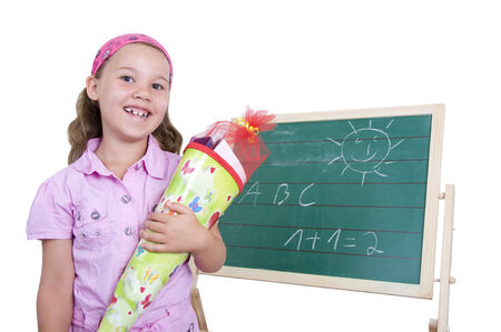 enrollment: little girl looking forward to the enrollment