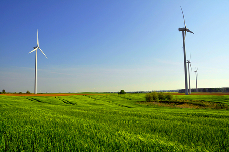 electricity prices: Wind turbines for green energy in the country Stock Photo