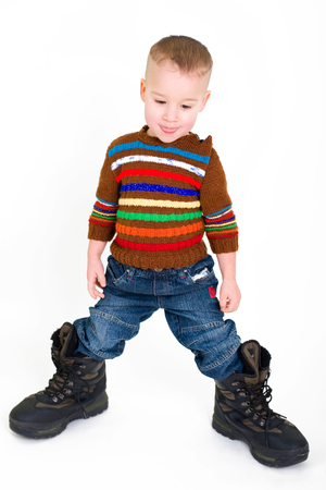 verry: little boy with verry big boots