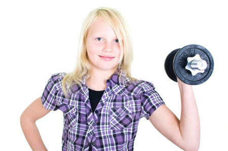 musculation: young girl with one arm braces dumbbells Stock Photo
