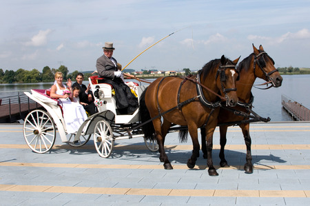 wedding couple with kids in a carriage