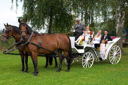 hackney carriage: Happy family in the wedding carriage Stock Photo