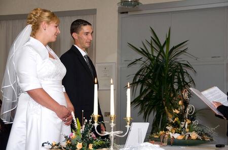 registrar: newlywed couple before the registrar