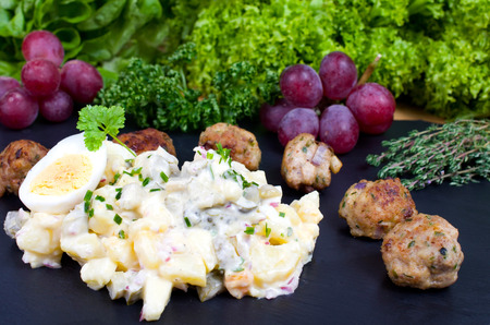 potato salad: Meatballs meatballs with potato salad Stock Photo
