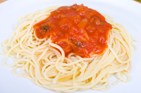 main course: Pasta with tomato sauce as a main course