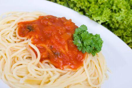 main course: Spaghetti with tomato sauce as a main course Stock Photo