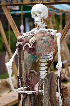 stake: Bone skeleton at the stake with an amulet Stock Photo