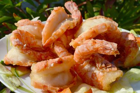 delikatesse: Gro�er Teller gebratene Shrimps   big Dinner plate Fried Shrimps