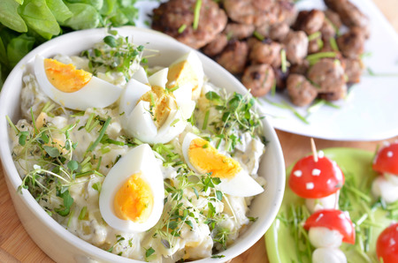 potato salad: Childrens buffet with potato salad and K?ttbullar Stock Photo