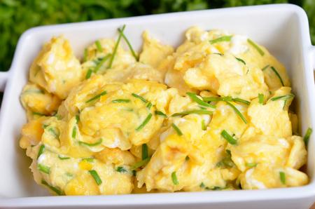 huevos revueltos: plato de huevos revueltos con cebolletas frescas Foto de archivo