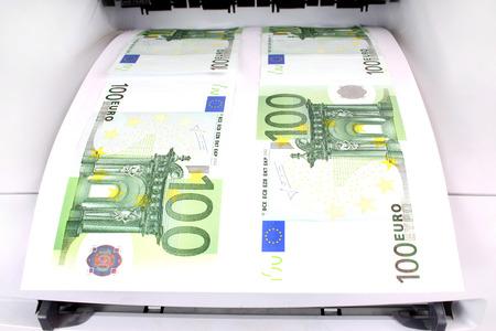 fake money: 100 Euro fresh from the printer Stock Photo