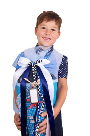 first year student: little boy starts school with a cornet Stock Photo
