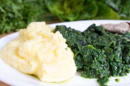 pure de papa: El puré de patatas con espinacas y salmón