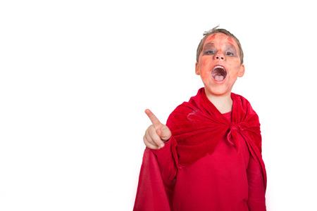 Little boy dressed as a devil