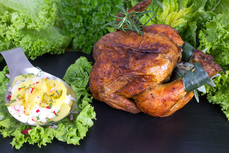 Grilled chicken with potato salad with cucumber and egg