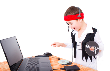 Small funy data pirate with data technology