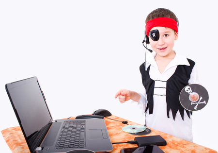 Small boy as data pirate with data technology Stock Photo