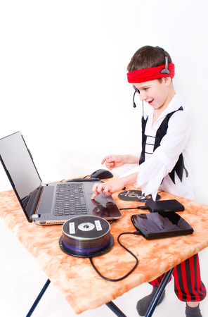Little boy dressed as a pirate in data grief
