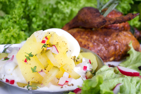 Potato salad with cucumber and egg with roast chicken