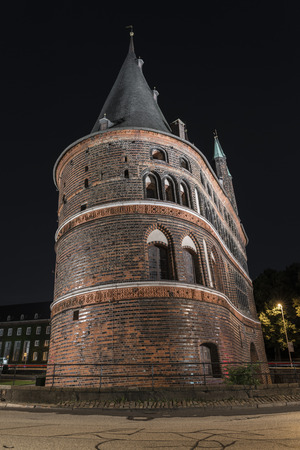Holstentor in Luebeck at night Stock Photo