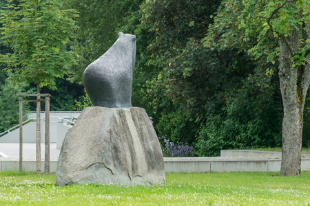 Bear Statue At The Spa Garden Of Grafenau In The Bavarian Forest Stock  Photo   74589656