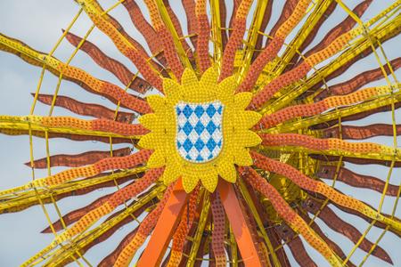 Closeup of the ferris wheel at the folkfestival in Regensburg