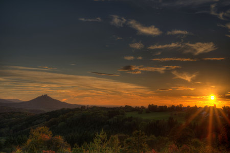 Sunset at the swabian alb with view to the castle Hohenzollern Stock Photo