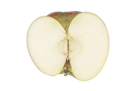 sprayed: One apple cut into halves without stalk and pit