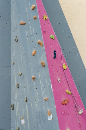 Closeup of a climbing wall Stock Photo