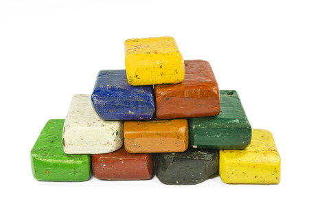 Stacked colorful wax crayon Stock Photo