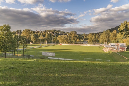 climatic: View from the spa garden to the football ground of Grafenau in the Bavarian Forest