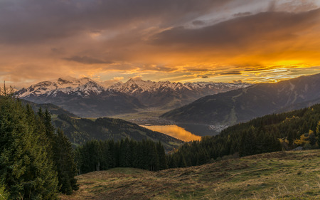 Sunset in Zell am See ? ? Austria with view to the Zeller lake, Kaprun and the alps