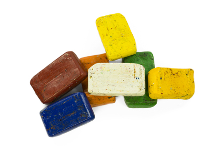 complementary: A heap of colorful wax crayon Stock Photo