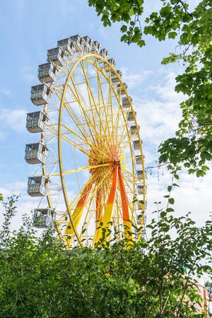 Folk festival with ferris wheel Stock Photo