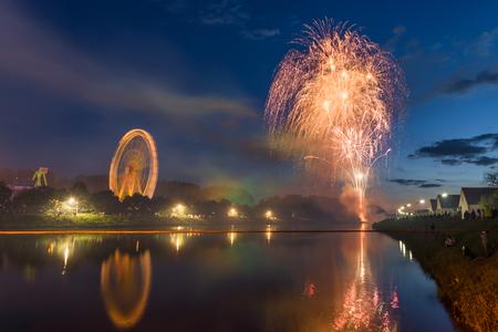 Firework at folk festival with ferris wheel in Regensburg
