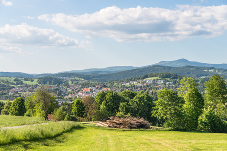 climatic: Grafenau in the bavarian forest with mountains small and big Rachel
