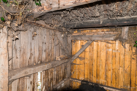 Indoor view of an old hog house Stock Photo