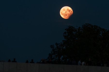 Partial lunar eclipse, August 07 2017, Regensburg, Germany Stock Photo